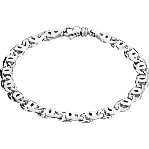 "Platinum 7mm Men's Link 8"" Bracelet"