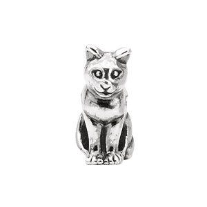 Sterling Silver 11x10mm Cat Slider Bead