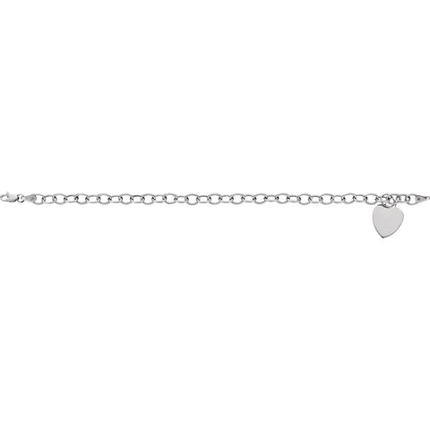 4.75 mm Hollow Charm Bracelet with 15.5 mm Heart in 14k White Gold ( 7.5-Inch )
