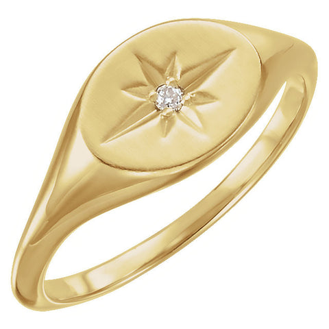 14k Yellow Gold .02 CTW Diamond Ring, Size 7