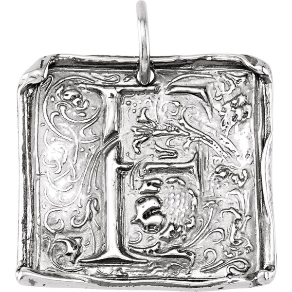 "Sterling Silver Initial ""F"" Vintage-Style Pendant"