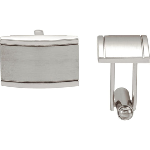 Pair of Stainless Steel Rectangular Cuff Links
