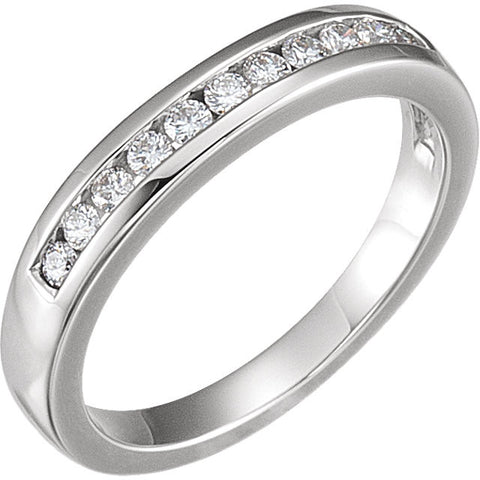 14k White Gold 1/4 CTW Diamond Band to 6.5mm Engagement Ring, Size 7