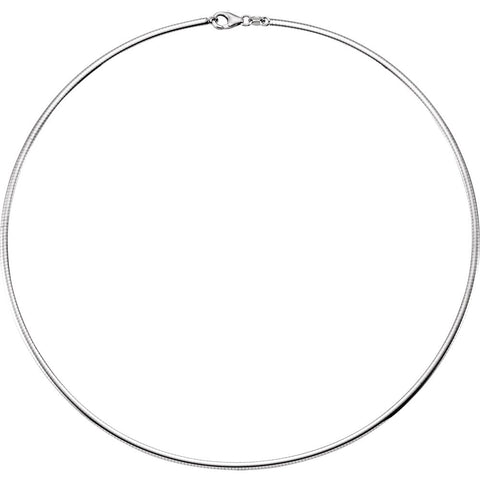 2.30 mm Reversible Matte and Polish Finish Omega Chain in Sterling Silver ( 16.00-Inch )