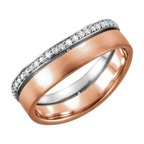 14k Rose Gold & White 6.5mm 1/3 CTW Diamond Band Size 7