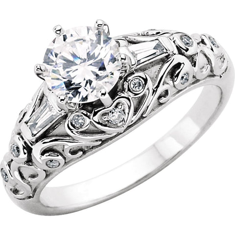 14k White Gold Vintage-Style Engagement Ring Base, Size 7