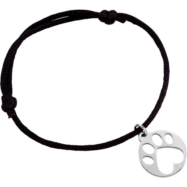 14k White Gold Black Satin Cord Adjustable Bracelet with Paw Charm