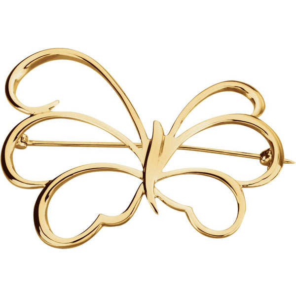 14k Yellow Gold Butterfly Brooch