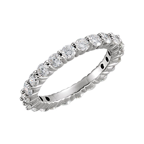 1 1/2 CTTW Round Diamond Eternity Wedding Band Ring in 14k White Gold (Size 7.5 )