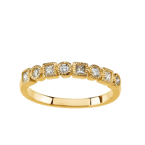 14k Yellow Gold 3/8 CTW Diamond Anniversary Band, Size 7