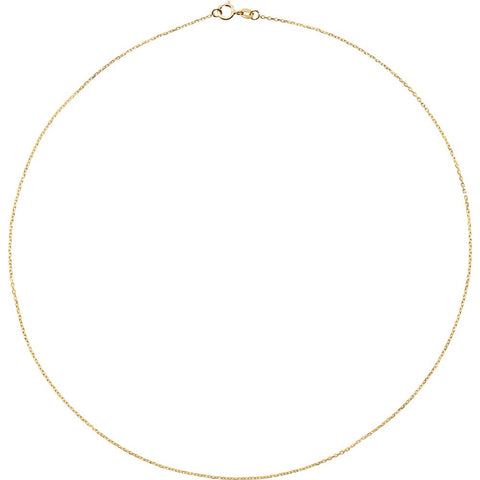 "14k Yellow Gold 1mm Diamond Cut Cable 16"" Chain"
