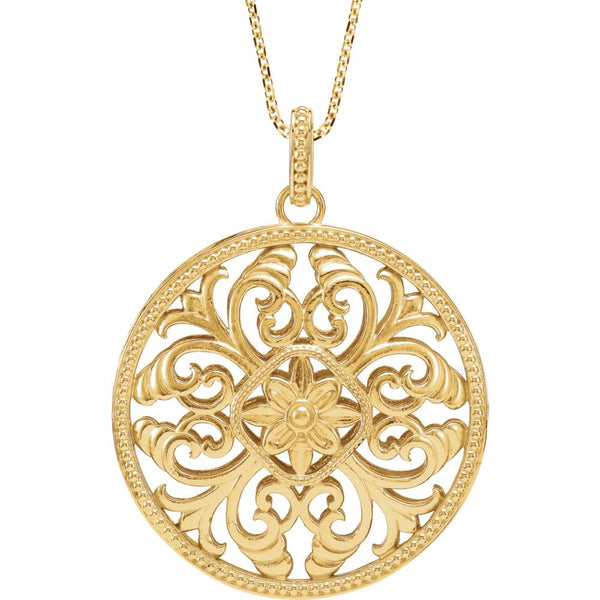 "14k Yellow Gold Filigree 18"" Necklace"