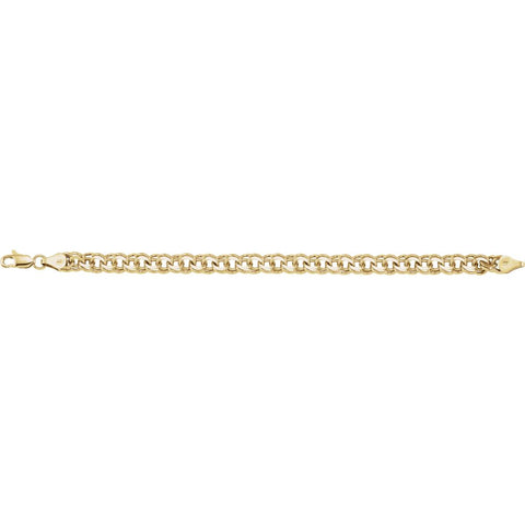 "14k Yellow Gold 7mm Solid Charm 7"" Bracelet"