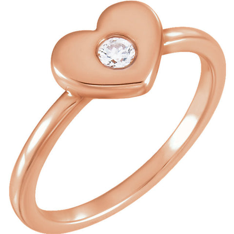 14k Rose Gold .03 CTW Diamond Heart Ring, Size 7