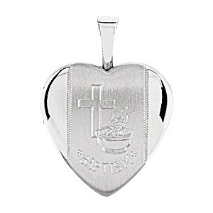 Sterling Silver 16.5x15.8mm Heart Baptismal Locket