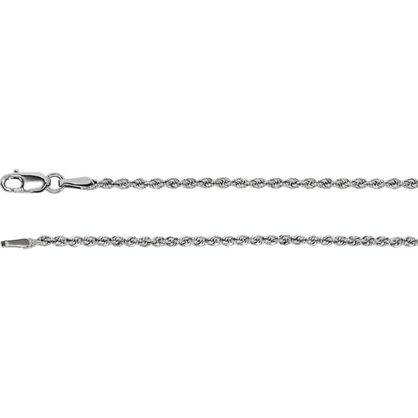 "14k White Gold 1.85mm Rope Chain 20"" Chain"