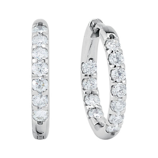 14k White Gold 1 CTW Diamond Inside/Outside Hoop Earrings