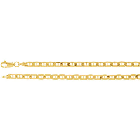 "14k Yellow Gold 3.5mm Solid Anchor 16"" Chain"