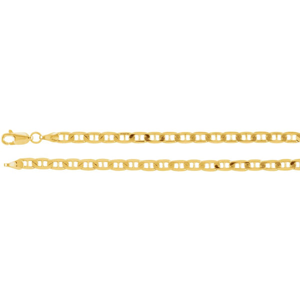 "14k Yellow Gold 3.5mm Solid Anchor 18"" Chain"