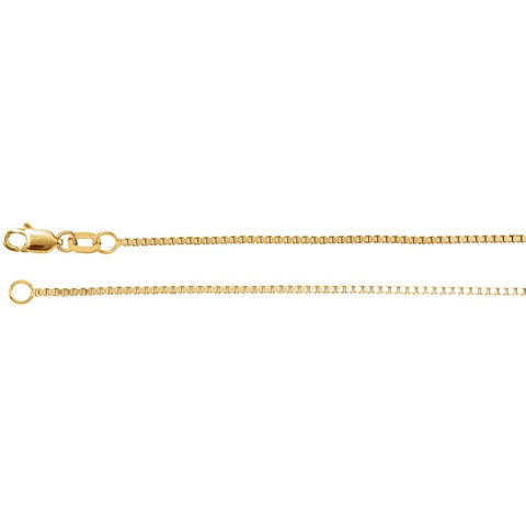 1.0 mm Box Chain in 14k Yellow Gold ( 16-Inch )