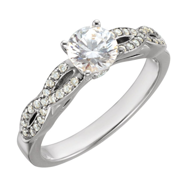 14k White Gold 1 1/6 CTW Diamond Engagement Ring, Size 7