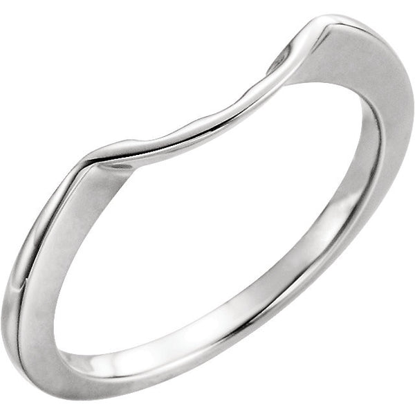 14k White Gold 7.4mm Band, Size 6