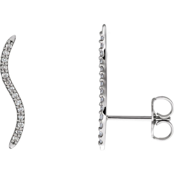 14k White Gold 1/6 CTW Diamond Wavy Ear Climbers