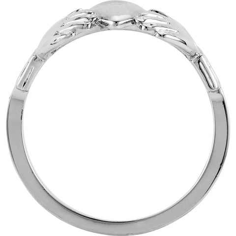 Platinum 12x14mm Ladies Claddagh Ring, Size 7