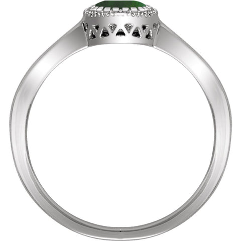 "14k White Gold Emerald ""May"" Birthstone Ring, Size 7"