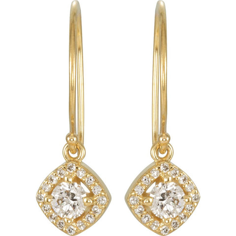 14k Yellow Gold 5/8 CTW Diamond Earrings