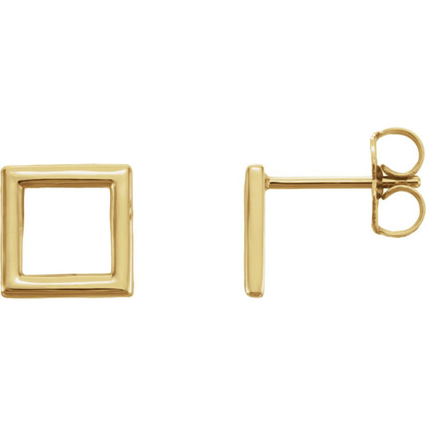 14k Yellow Gold Square Earrings
