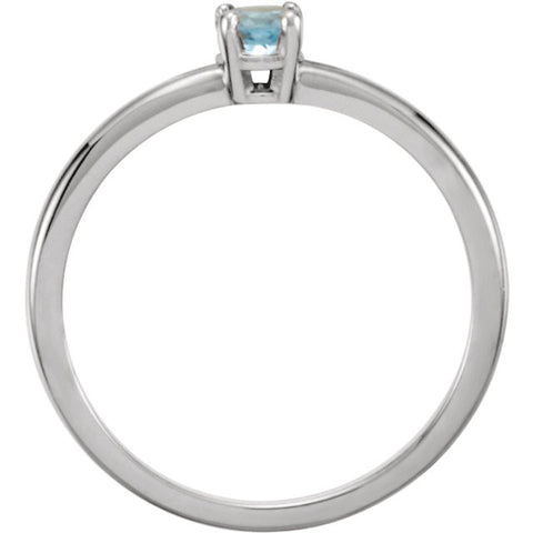 "Sterling Silver Imitation Aquamarine ""March"" Youth Birthstone Ring, Size 3"