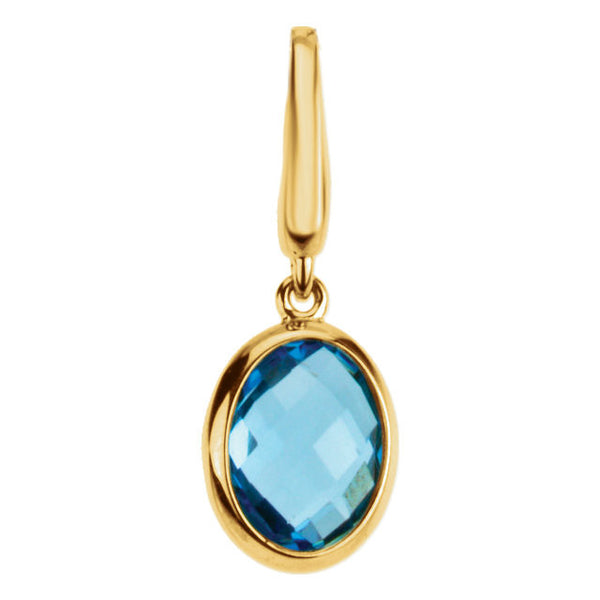 14k Yellow Gold Genuine Swiss Blue Topaz Charm