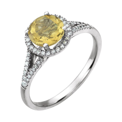 14k White Gold 1/5 CTW Diamond & Citrine Ring, Size 7