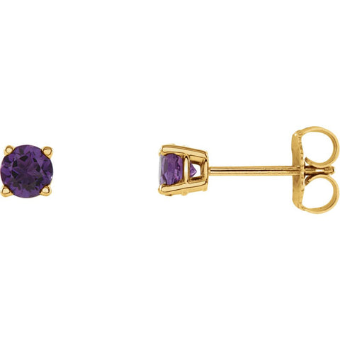 14k Yellow Gold 4mm Round Amethyst Earrings