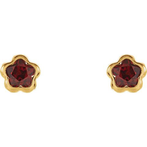 14k Yellow Gold January CZ Birthstone Earrings with Screw Backs