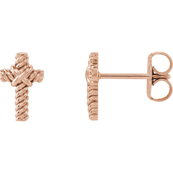 14k Rose Gold Rope Cross Earrings