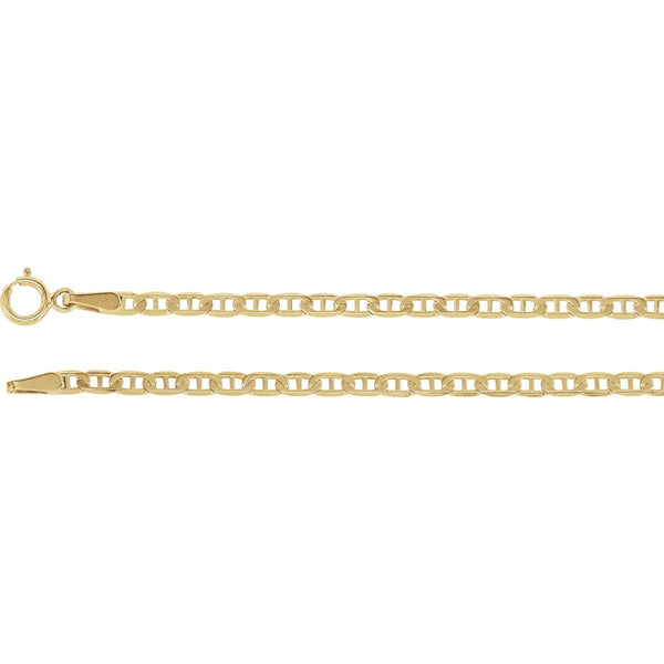 "14k Yellow Gold 2.25mm Anchor 16"" Chain"
