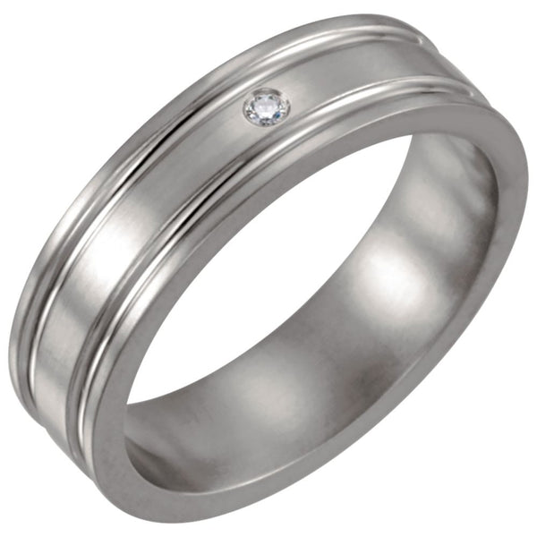 Titanium .025 CTW Diamond Grooved 6mm Band Size 12