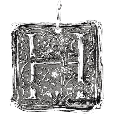 "Sterling Silver Initial ""H"" Vintage Pendant"