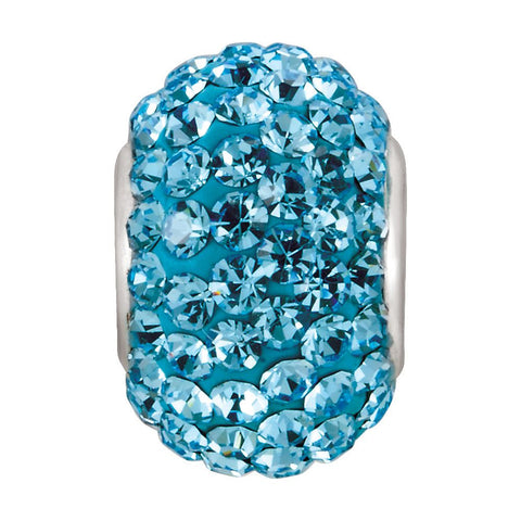 Kera Aquamarine-Colored Crystal Pave' Bead with March Birthstone in Sterling Silver