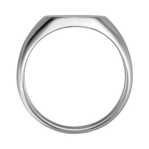 14k White Gold 10x12mm Oval Signet Ring, Size 6