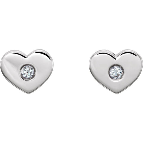 Sterling Silver .06 CTW Diamond Heart Earrings