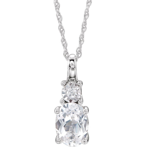 14k White Gold Created White Sapphire & .02 CTW Diamond Necklace