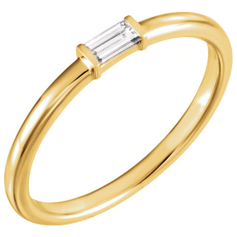 14k Yellow Gold 1/8 CTW Diamond Stackable Ring, Size 7