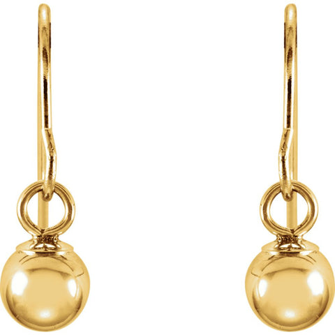 14k Yellow Gold 15x4mm Youth Bishop Hook Ball Earrings