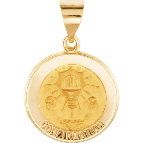Hollow Round Confirmation Medal in 14k Yellow Gold