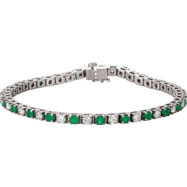 14k White Gold Emerald & 2 1/3 CTW Diamond Bracelet
