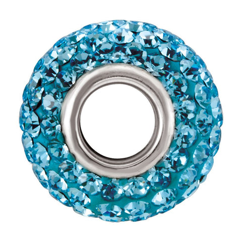 Sterling Silver 12x8mm Bead with Pavé Aqua Crystals