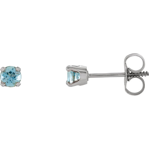14k White Gold Imitation Blue Zircon Kid's Earrings